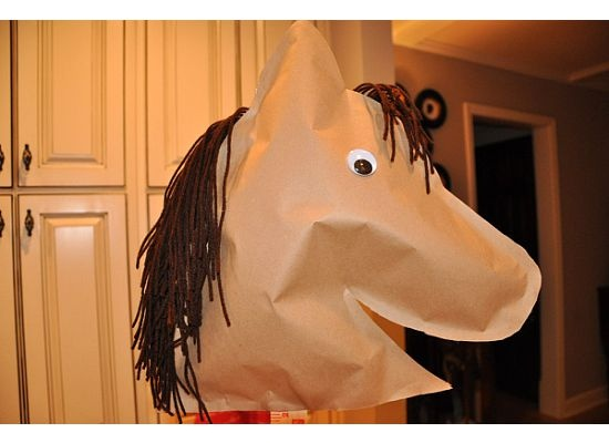 how to make your own stick horse - could do stick horse races for games that day. Maybe some barrels for barrel racing?