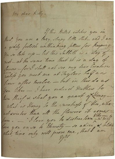 Bawdy letter from Laurence Sterne to Kitty Fourmantel, 1760.