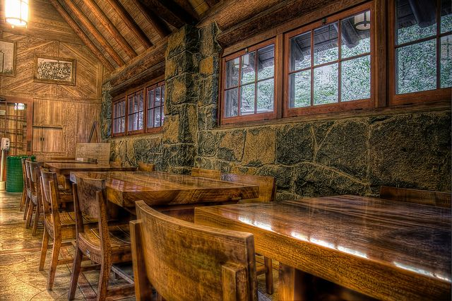 Myrtlewood tables at Silver Falls Lodge, photo by PhotoAtelier