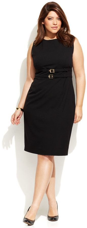 Plus Size Belted Sheath Dress