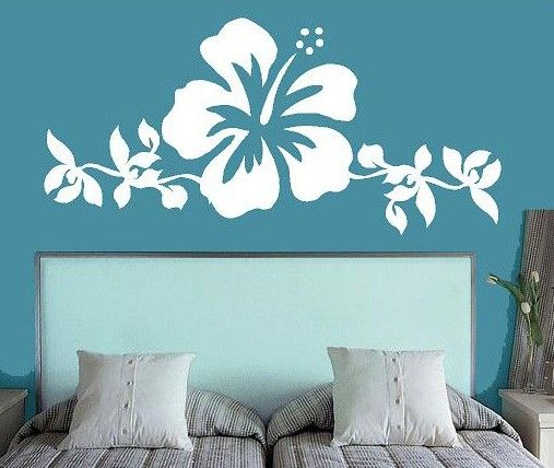 Hibiscus Flower Art Bedroom  Vinyl Lettering by itswritteninvinyl, $38.00