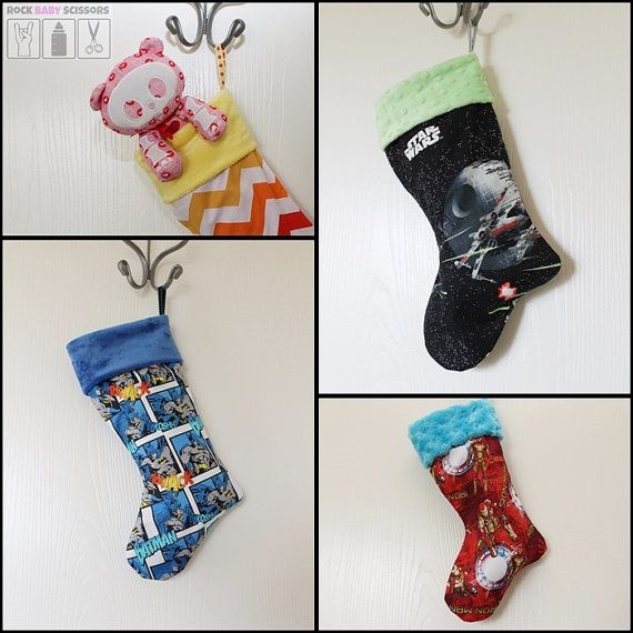 Made christmas stocking your choice of fabric and minky cuff color