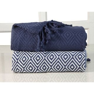 60-inch 100-percent Soft Cotton Diamond Weave Throw (Set of 2) | Overstock.com Shopping - The Best Deals on Throws