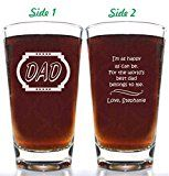 Fathers Day Worlds Best Dad Belongs to Me Beer Glass 14oz Double Sided Choice of Titles and Personalized with childs name