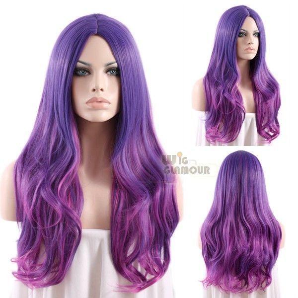 Long Wavy 80 Cm Mixed Purple Fashion Wig Heat Resistant