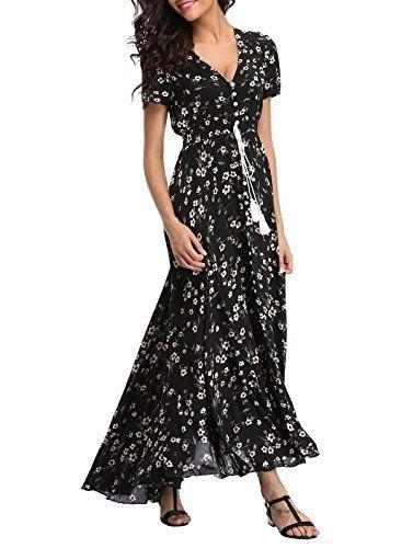 0ed0276295bf VOGMATE Femme Robe Chic Longue Col V à Fleur Manches Courtes en Coton Robe  Maxi de Plage D été Casual (S-2XL)