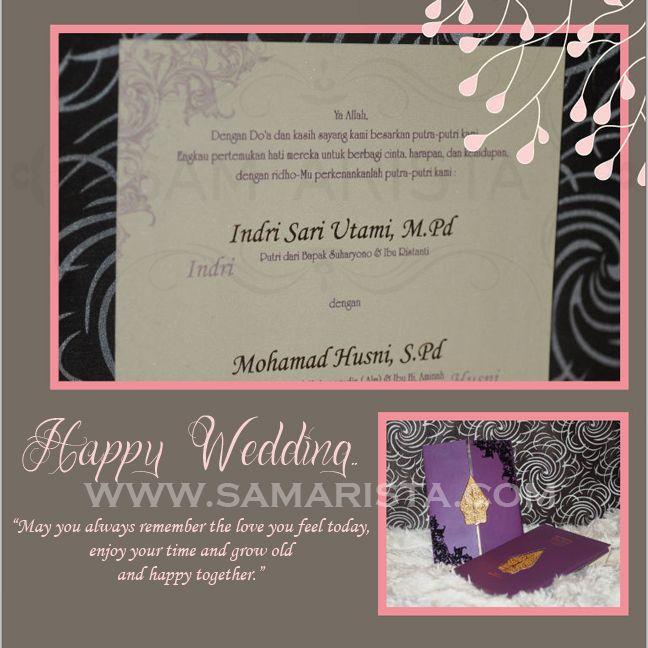 Happy Wedding for Wonderfull Couple ❣  ❦ Indri Sari Utami, M. Pd & Mohamad Husni, S. Pd ❦   ~18 Oktober 2014~  Info & Pemesanan Kartu Undangan Hub : 022-5223378/70706073 Jl. Pasirluyu Timur No. 155-157 Bandung... Cetak Cepat & Rapi, Harga Murah bs disesuaikan dgn budget, Desain dpt dirubah sesuai keinginan..  #kartu #undangan #pernikahan #samarista #wedding #invitation #card #hard #soft #cover #perkawinan #best #seller #cetak #cepat #murah #jasa #pesan #acara #khitanan #brosur #souvenir