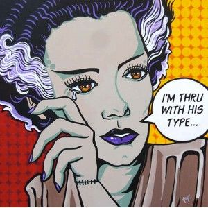http://purpleleopardboutique.com/1197-2458-thickbox/thru-with-his-type-by-mike-bell-tattoo-art-canvas-giclee-fine-art-print.jpg Mike Bell -Thru with His Type - Bride of Frankenstein pop culture art design.