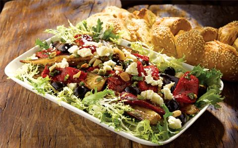Organic Salad with Roasted Vegetables, Salad Leaves and Cheese