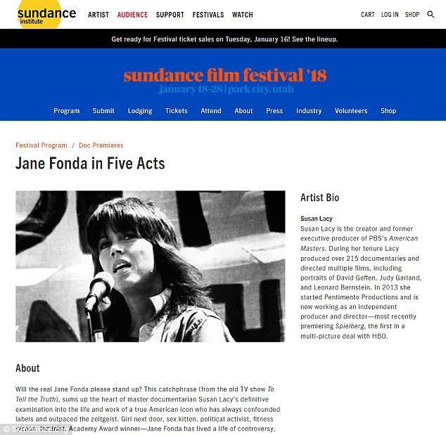 Doc: Before it airs on the cable network, Jane Fonda in Five Acts will also screen this Sunday, Monday, next Friday, and next Saturday during the Robert Redford-founded fest