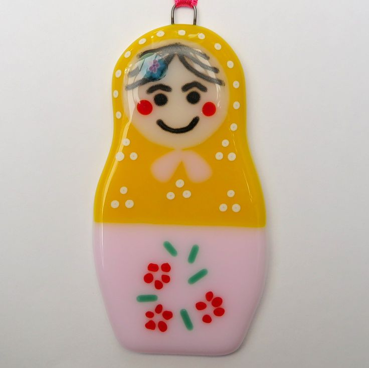 Fused Glass Matryoshka – Russian Doll – Yellow & Pink - £8. Measures approximately 5 x 9cm. www.glassbygenea.co.uk #fusedglass