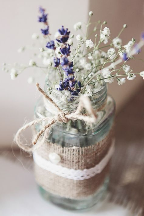 Pretty Pink Country Seaside Wedding Hessian Lace Jar Flowers Lavender http://www.cristinarossi.co.uk/