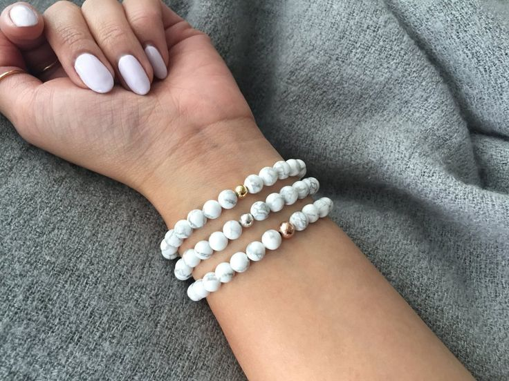 Large White Howlite Stretch Bracelet    Each howlite bead is carefully selected to achieve that white marble effect - thus each finished piece has its own unique look. Bracelets are made using 6mm round white howlite beads and are available in Gold, Silver or Rose Gold hardware. All beads are individually selected and polished before stringing.