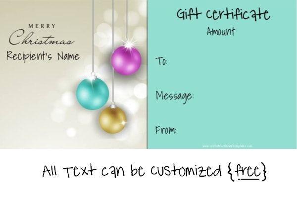 Free printable christmas gift certificate template
