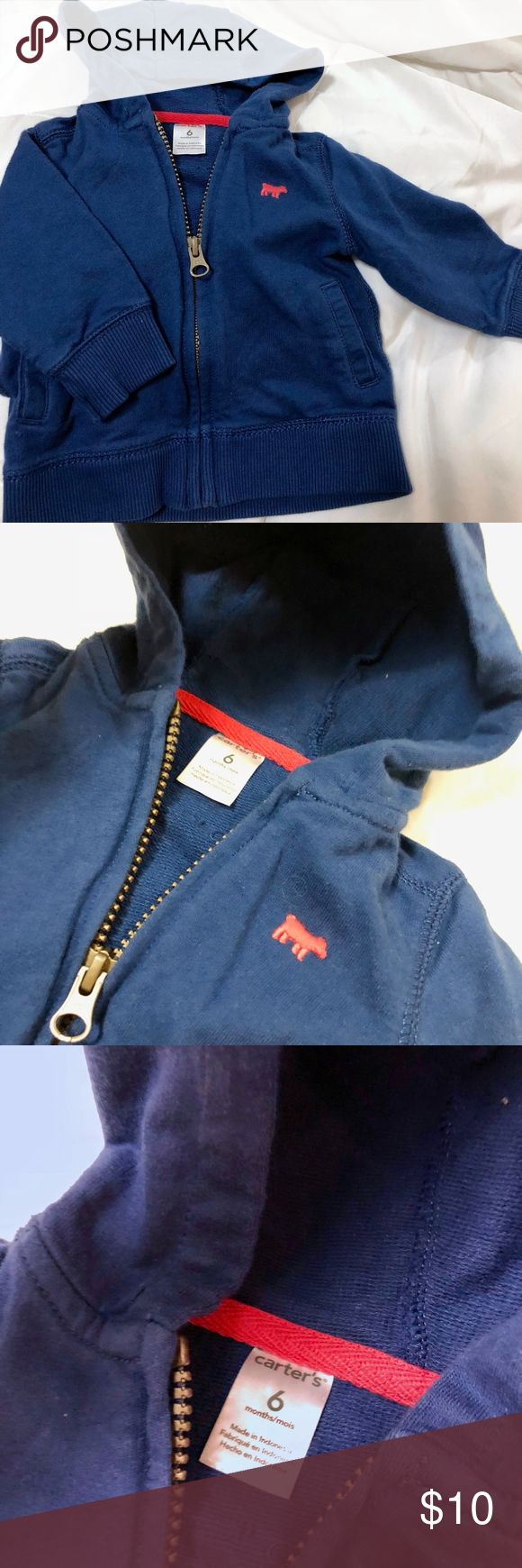 baby boy's Blue zip up hoodie size 6 months from carters. the second photo depicts the truest reflection of the item's color. zip up sweatshirt. Carter's Shirts & Tops Sweatshirts & Hoodies