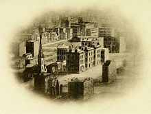 J. P. Morgan - Early view (c1855) of 229, 225 and 219 Madison Avenue before the street was paved.