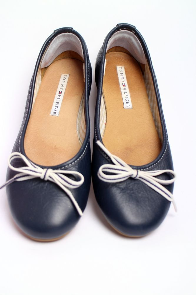 ♥ TOMMY HILFIGER PUMPS BALERINAS Gr 37 blau Leder NEUW Business Blogger HAUL
