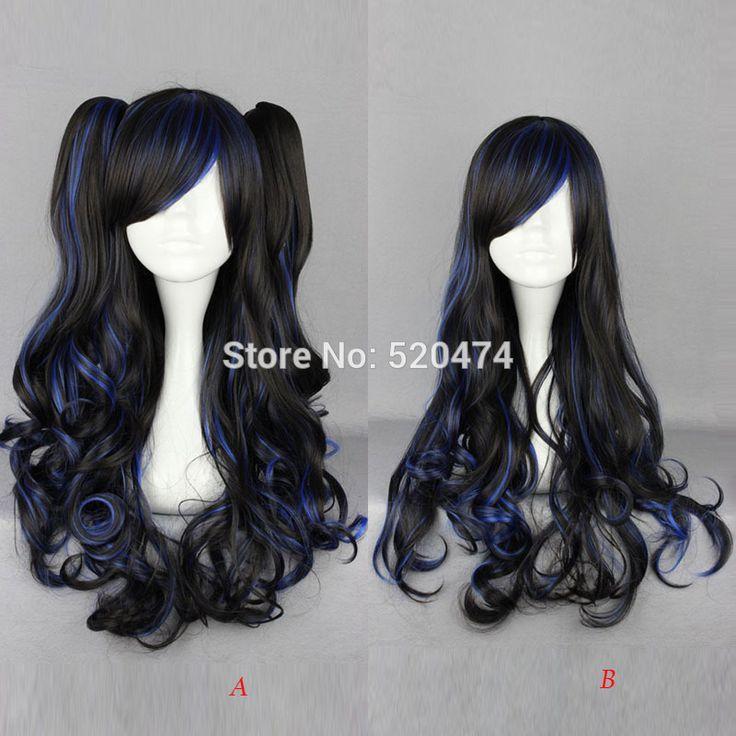 MCOSER frauen Harajuku 2 Stil Cosplay Langen Lockigen Schwarzen Gemischten Blau Synthetische haar Lolita Partei Pferdeschwanz Perücke