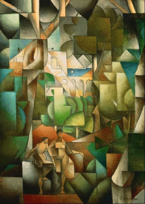 Les Baigneuses, 1913. Jean Metzinger (1883-1956) was a major 20th-century French painter, theorist, writer, critic and poet, born in Nantes, France, who, along with Pablo Picasso, Georges Braque, and Albert Gleizes, developed Cubism.