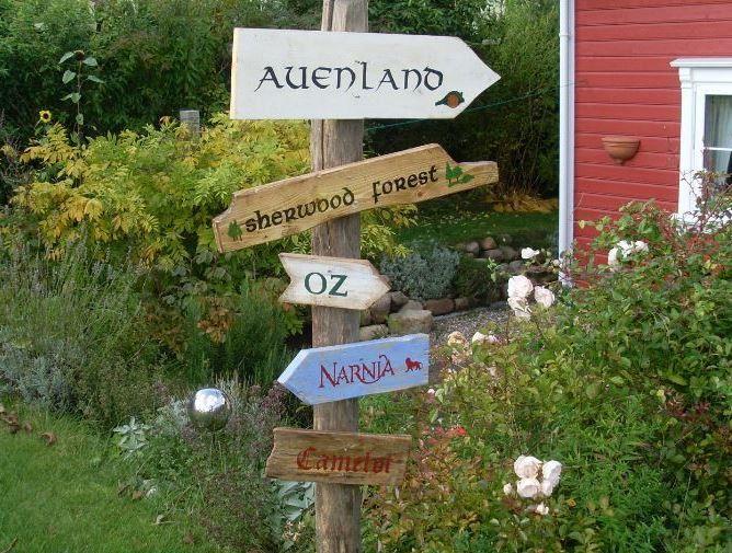 Сад Украшение - 5 Сказочные деревянные знаки для сада - дизайнерский кусок Алма-Вудсе в DaWanda