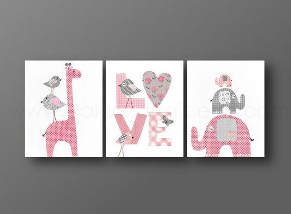 Nursery wall art, nursery print, baby nursery, kids art,children art, giraffe, elephant, Birds, Love, pink, gray, Set of three 8x10 prints