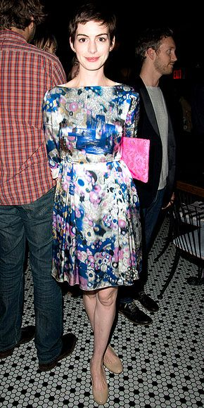 Anne Hathaway in a watercolor-print boatneck dress at a screening of 'Celeste and Jesse Forever' in NYC