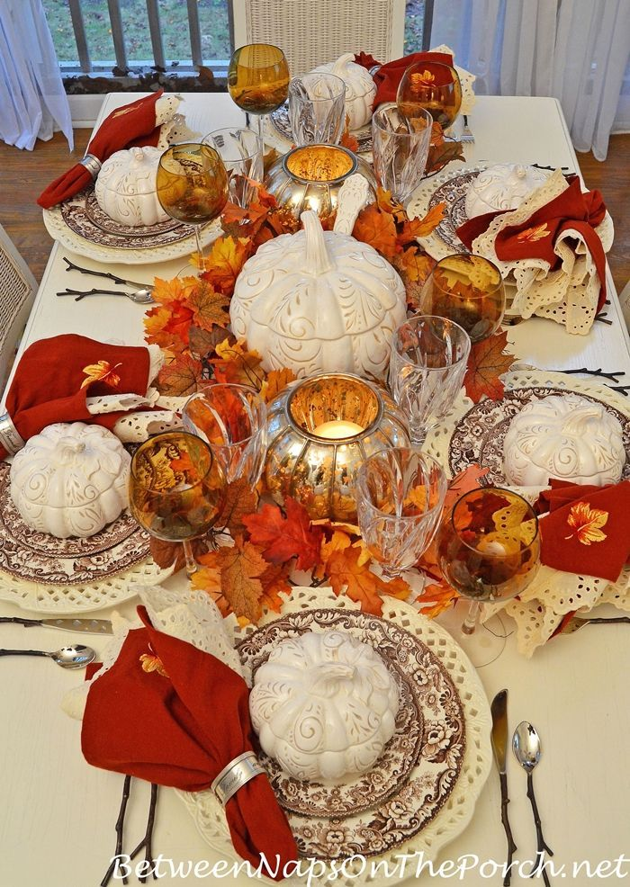 Fall Tablescape Table Setting with Spode Woodland, Pumpkin Tureens, Twig Flatware for Fall from Between Naps on the Porch.