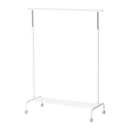 RIGGA Clothes rack IKEA You can easily adjust the height of the clothes rack to suit your needs. It locks in place at 6 different levels.