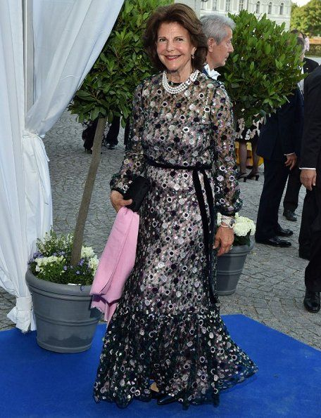 Queen Silvia of Sweden and King Carl XVI Gustaf of Sweden attended 80th Birthday Dinner of Prince Max, Duke of Bavaria (Duke Herzog in Bayern) held at Nymphenburg Palace (Schloss Nymphenburg) in Munich. 80th birthday of Duke Prince Max of Bavaria is on January 20 and the celebrations took place 22 Jul 2017.