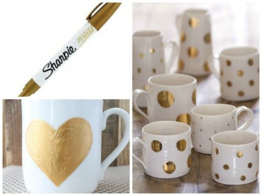 gold sharpie mugs tutorial