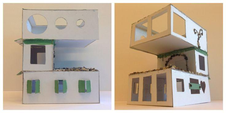Handvaardigheidswerkstukken 3GT. Opdracht: Bouwen in het klein - Ontwerp en maak een maquette voor een vrijstaand woonhuis met moderne vormgeving. Formaat: 25 cm3. Materiaal: wit karton met keuze voor één extra materiaal en één accentkleur. Groepsopdracht. Schooljaar 14-15.