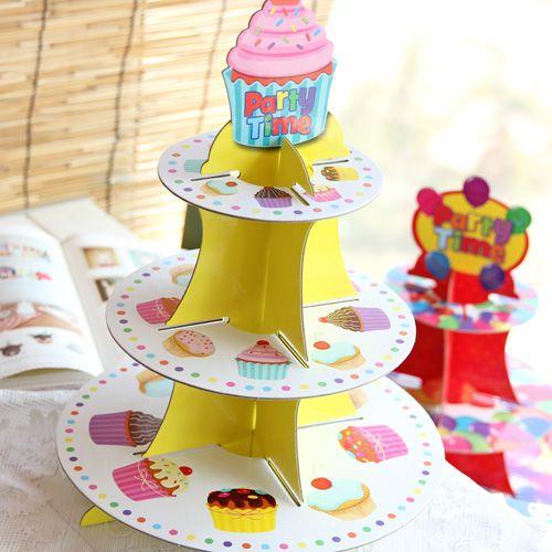 Купить -Трехслойный Картон DIY десерт день рождения партии день рождения партии торт печенье десерт лоток аксессуары поставки из категории Бумажные гирлянды и праздничные украшения на Kupinatao.com