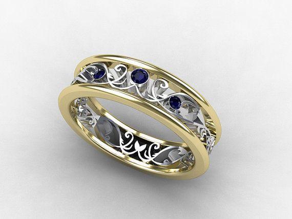 Blue Sapphire Ring Two Tone Gold Filigree Ring Wedding