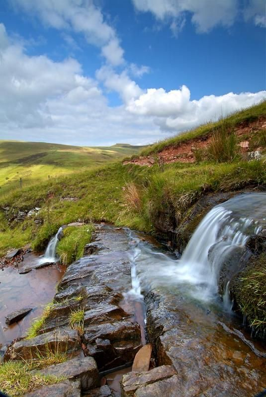 Mountain streams that descend the slopes of the Brecon Beacons in Wales, England