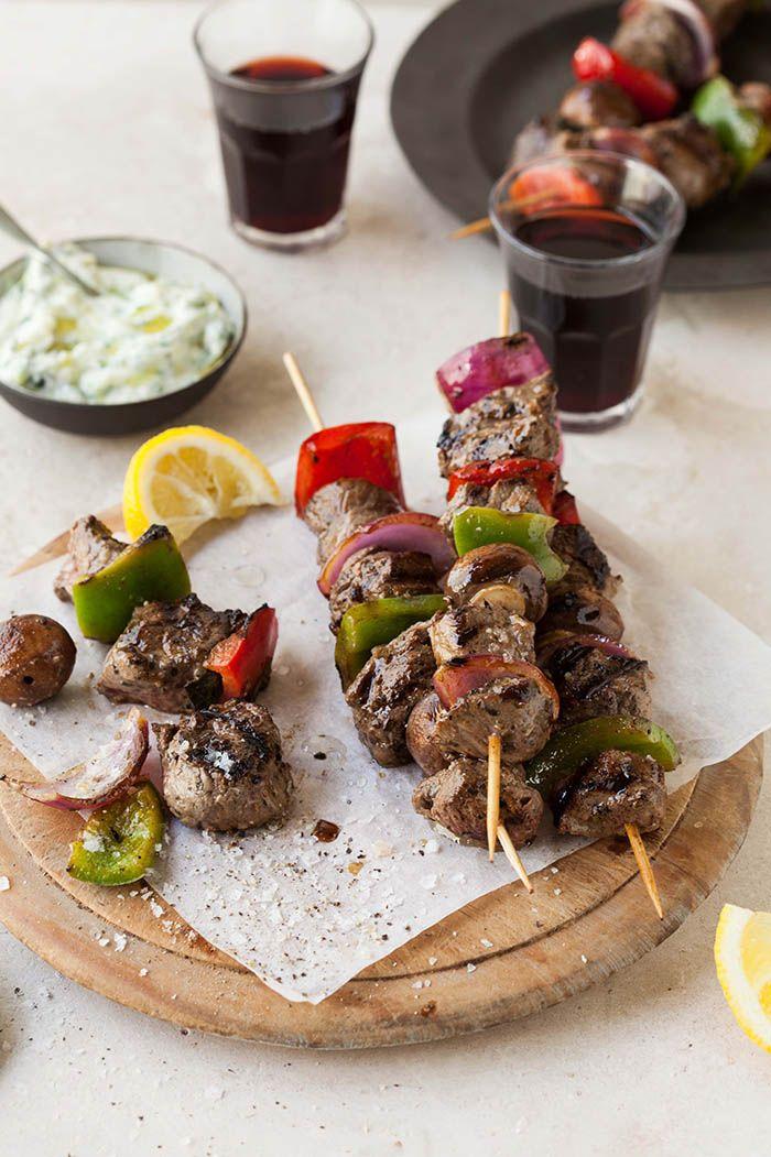 Ostrich fillet kebabs with zuchhini tzatziki | DrizzleandDip.com