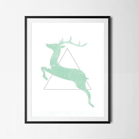 Reindeer Poster Christmas Poster Minimalist by PaperLoveGraphics