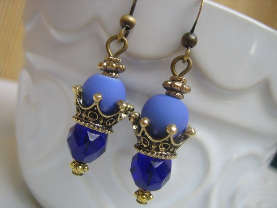Unique Handmade Royal Blue Crystal, Glass and Brass Crown Dangle Earrings -$22.00