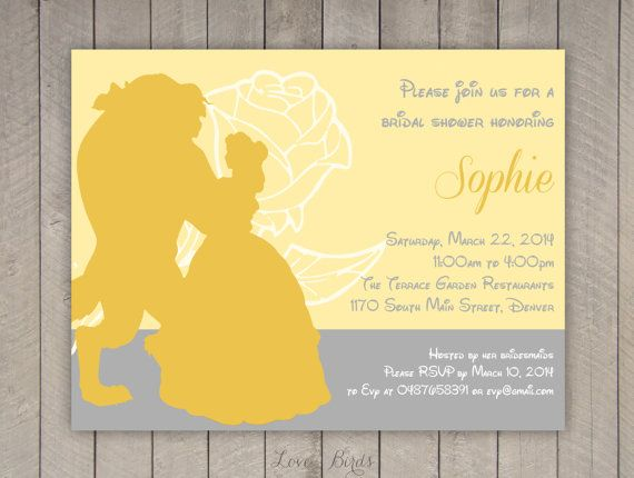 Bachelorette party / Bridal shower invitation Disney Belle Beauty and the Beast - Digital file by SophiesLovebirds on Etsy #wedding #Disney #BeautyAndTheBeast