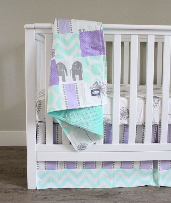 custom crib bedding purple mint and grey baby by