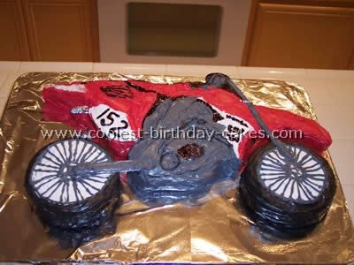 "Motorcycle Homemade Birthday Cake.... As I pin this Ryder is saying ""vroom vroom"" lol"