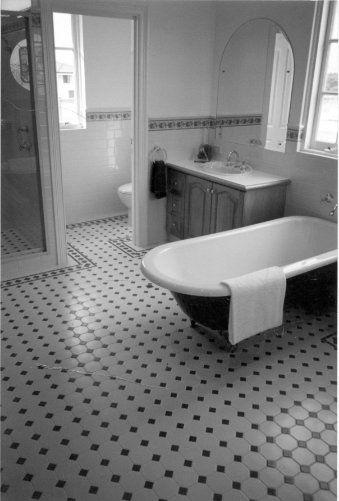 edwardian tiles white octagon and norwood border - Edwardian Bathroom Design