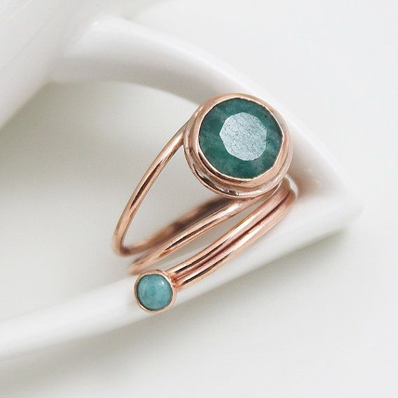 Amazonite Ring Sea shade Ring Adjustable Open Ring by StudioAngel