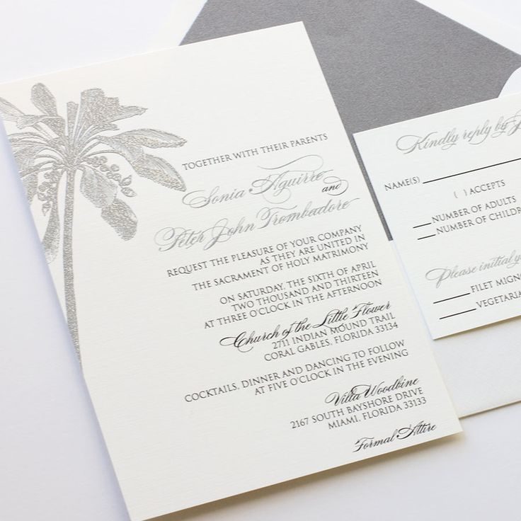 champagne blush wedding invitations%0A Palm Tree Wedding Invitation Vertical