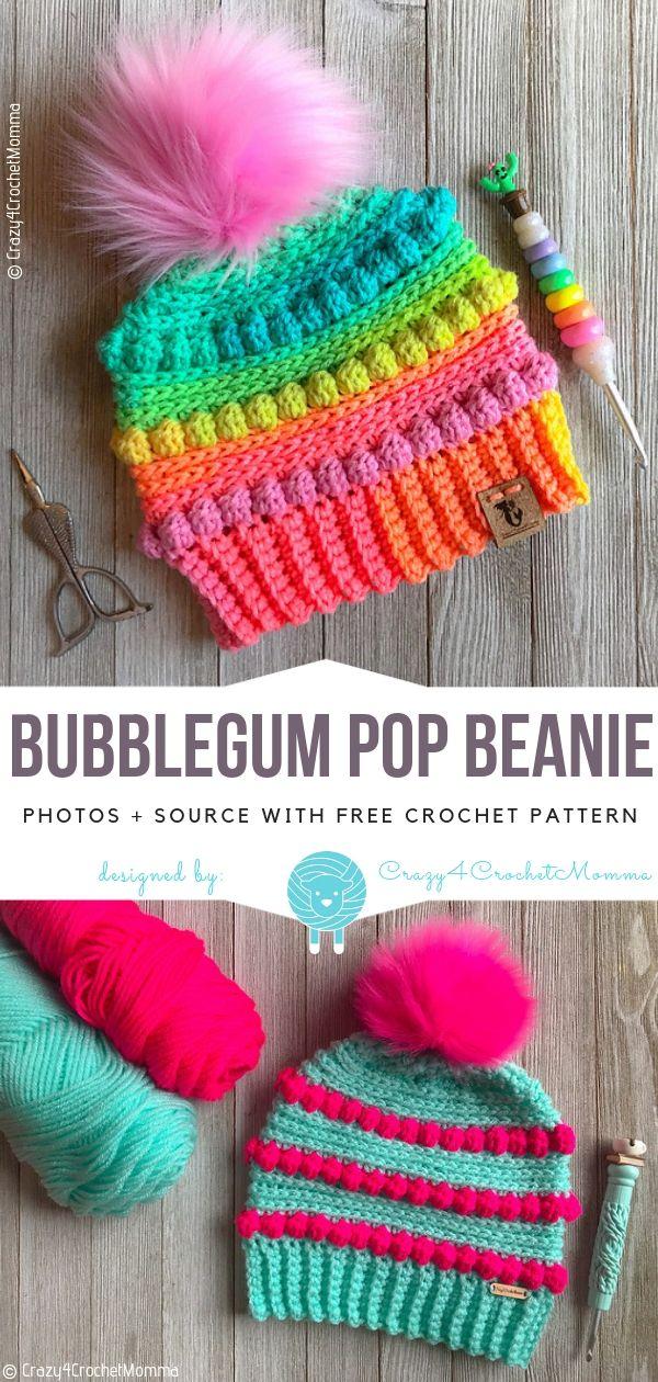 Bubblegum Pop Beanie Gratis Häkelanleitung | Häkelmützen | Pinterest ...