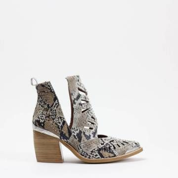 JEFFREY CAMPBELL MACEO  Grey/White Snake Print Leather Ankle Boots