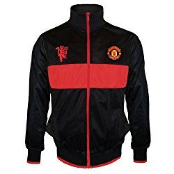 Manchester United FC Official Gift Boys Retro Track Jacket Black 12-13 Years XLB