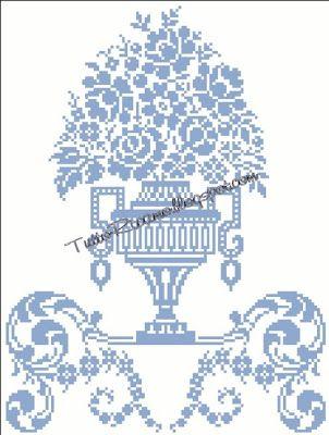 TuttoRicamo: Punto Perugino: come si fa – vaso di fiori con ara...