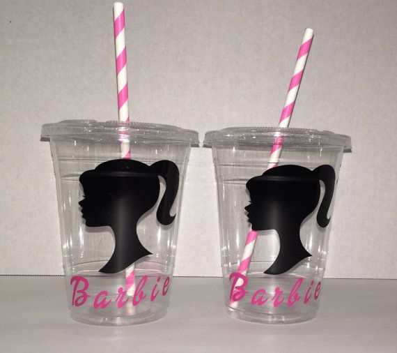 Barbie party cupsBarbie party favors barbie by ohsoaudreycreations