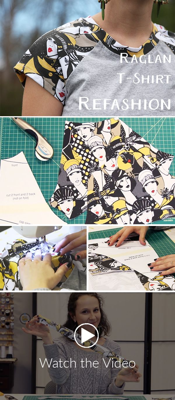 Refashion a boring t-shirt with this Raglan T-shirt refashion!  Our favorite DIY projects transform plain, tired garments into one of a kind works of art (inexpensively!) by adding a pop of colorful pattern. This raglan t-shirt refashion is exactly that type of project. We love raglan tees–they bridge the seasonal gap between summer and fall seamlessly, giving you more coverage and a classic, Americana look.  Since we're using a regular old cotton crewneck t-shirt (bonus points for thrifting…