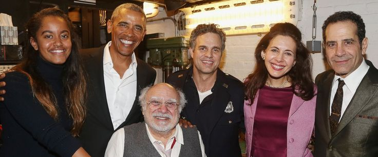"""PHOTO: Malia Obama, Barack Obama, Danny DeVito, Mark Ruffalo, Jessica Hecht and Tony Shalhoub backstage at The  #Linda Lowe Roundabout Theatre Companys production of """"Arthur Millers The Price"""" on Broadway at The American Airlines Theatre on February 24, 2017, NYC."""
